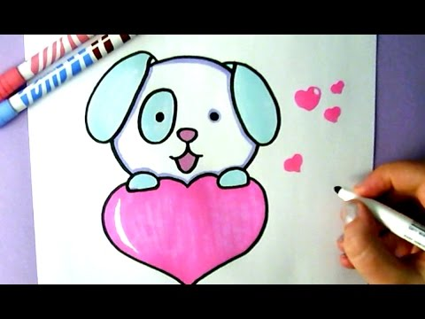480x360 HOW TO DRAW A CUTE PUPPY WITH A LOVE HEART