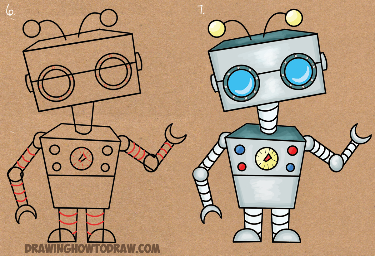 Cute Simple Line Art : Cute robot drawing at getdrawings free for personal use