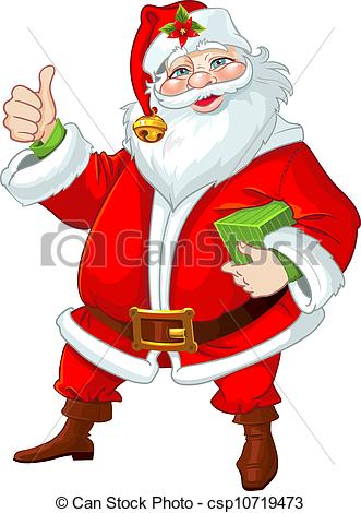 331x470 Cute Santa Claus With Gift Vectors Illustration