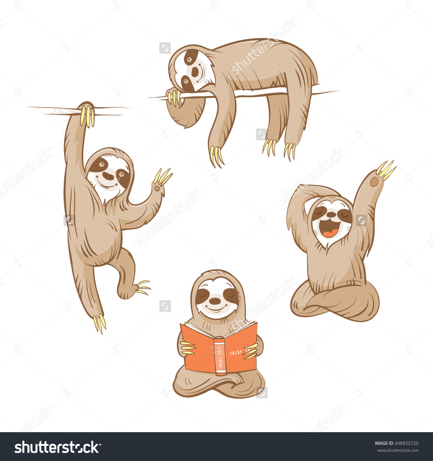 1500x1600 Cute Baby Sloth Illustration