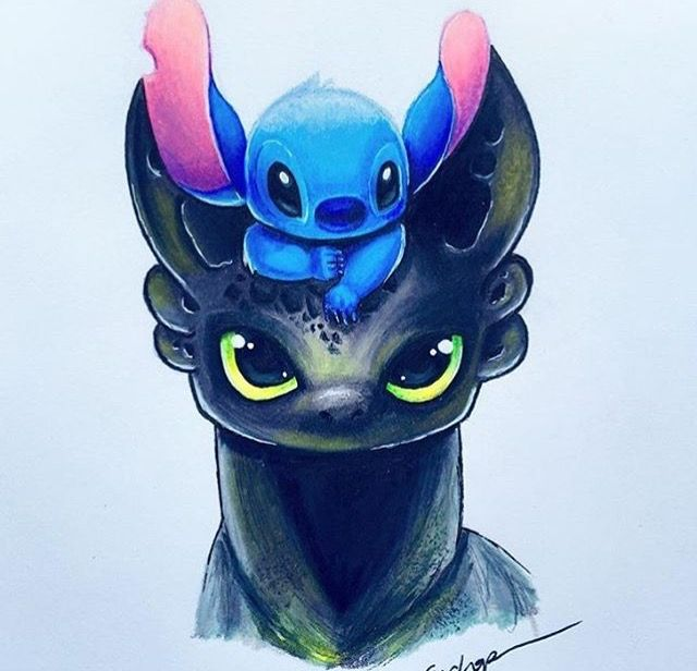 640x616 Cute Drawing Of Toothless Amp Stitch Living Canvas Pinterest