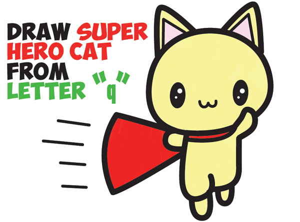 600x445 How To Draw A Cute Cat Super Hero (Kawaii) With Easy Step By Step