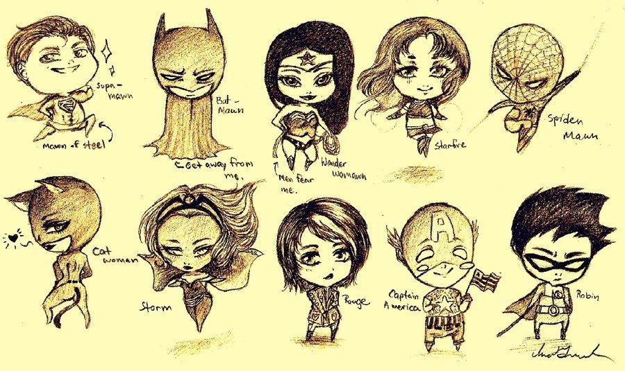 900x535 Superhero Chibis By Inabeena