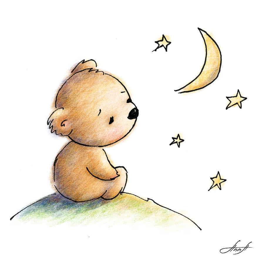 899x900 Drawing Of Cute Teddy Bear Watching The Star Digital Art by Anna