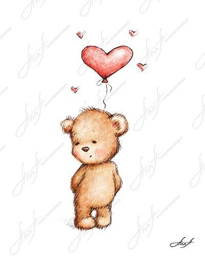 400x500 The drawing of cute teddy bear with the red heart balloon