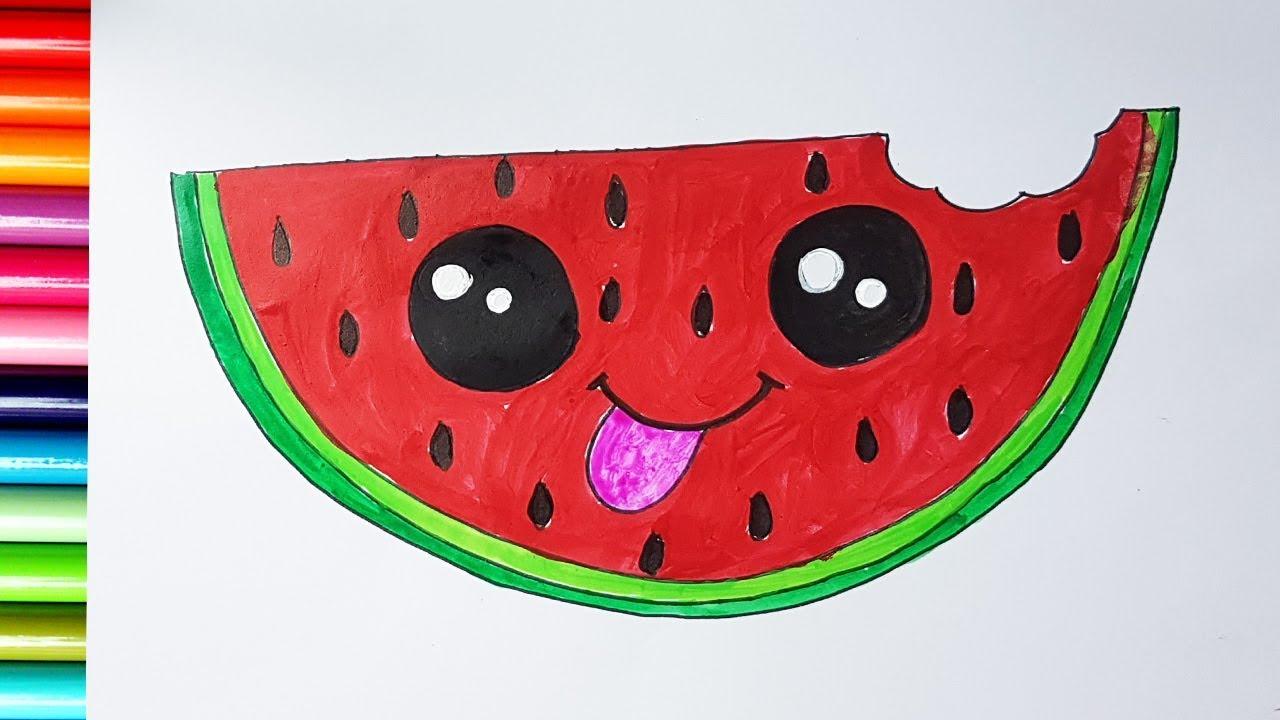 1280x720 Draw A Cute Watermelon Step By Step How To Draw A Watermelon