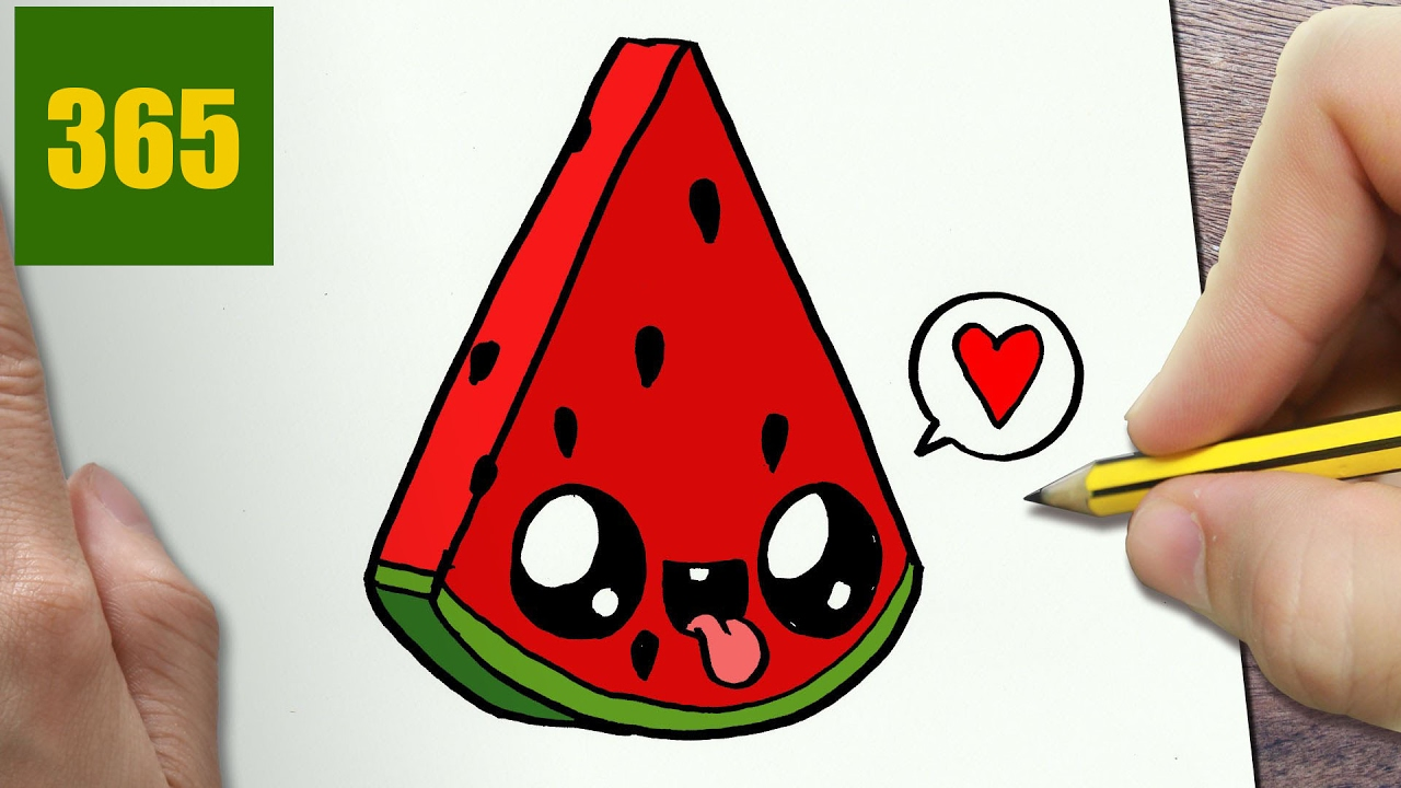 1280x720 How To Draw Draw A Cute Watermelon Easy