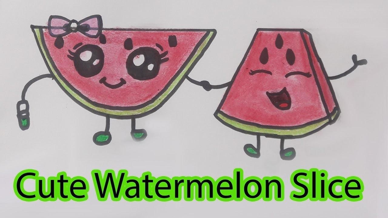 1280x720 How To Draw Cute Watermelon Slice