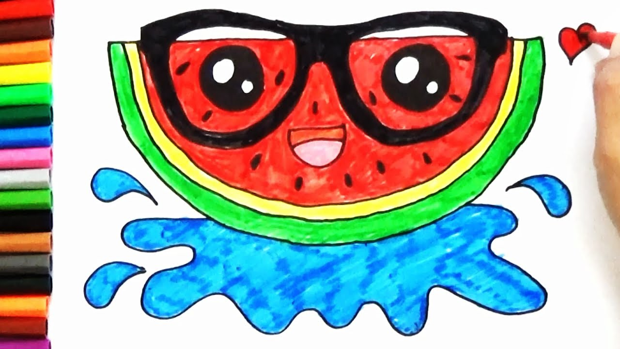 1280x720 How To Draw Cute Watermelon Slice Art For Kids