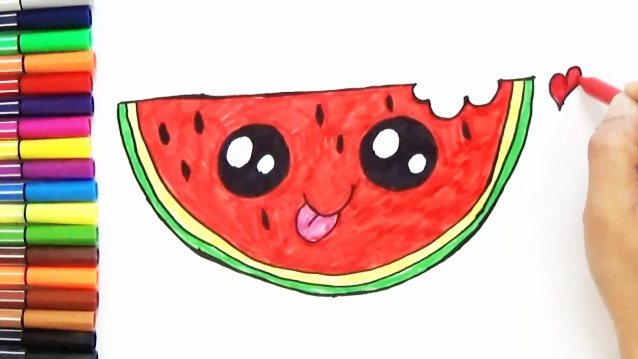 1280x720 How To Draw Cute Watermelon Slice Step By Step