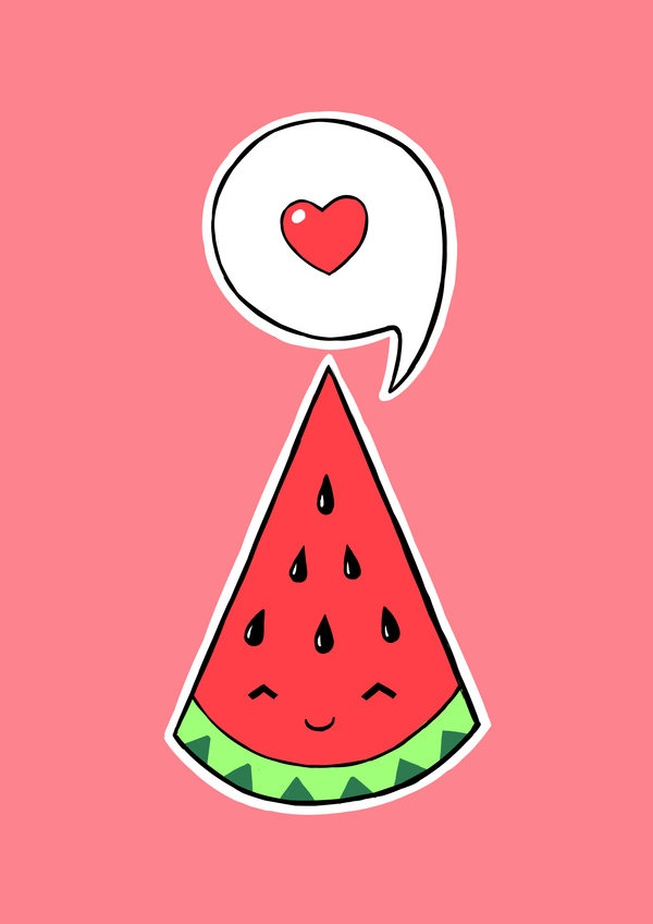 how to draw a cute watermelon step by step