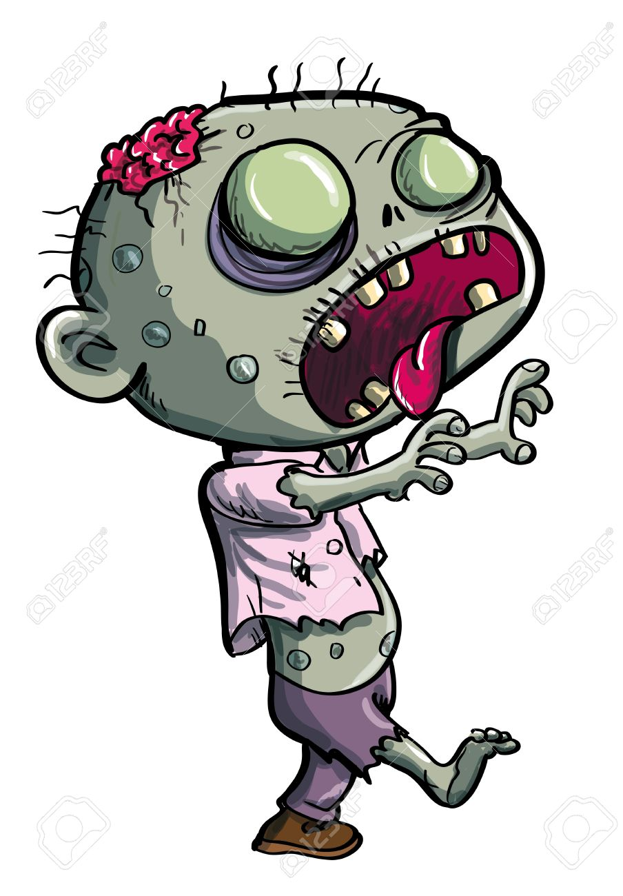904x1300 Cute Green Zombie Cartoon Isolated On White Royalty Fri Clipart