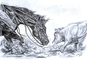 300x209 Cutting Horse Drawings Fine Art America