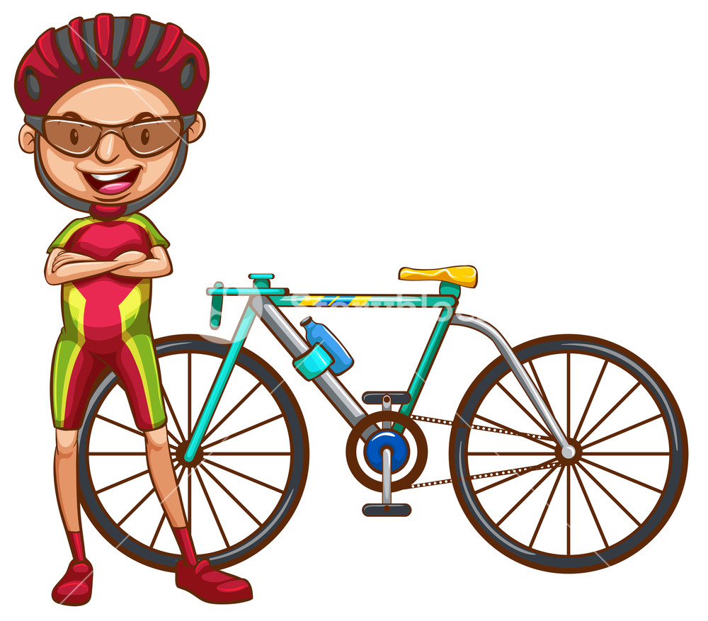 1000x877 A Coloured Drawing Of A Cyclist On A White Background Royalty Free