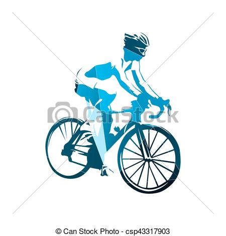 450x470 Road Cycling, Abstract Geometric Blue Cyclist Vector Vector