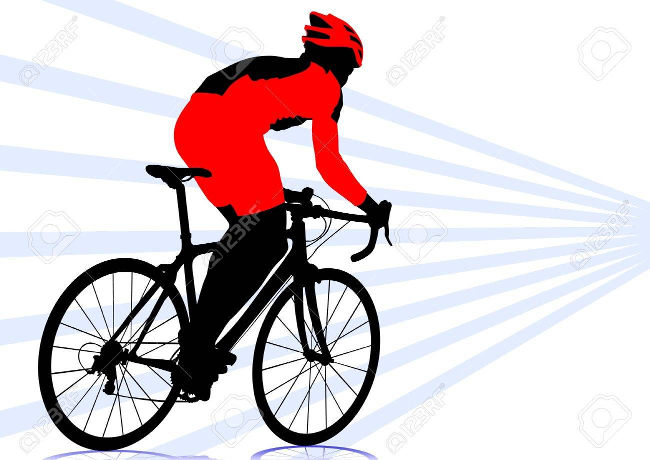 1300x919 Vector Drawing Silhouette Of A Cyclist Boy Royalty Free Cliparts