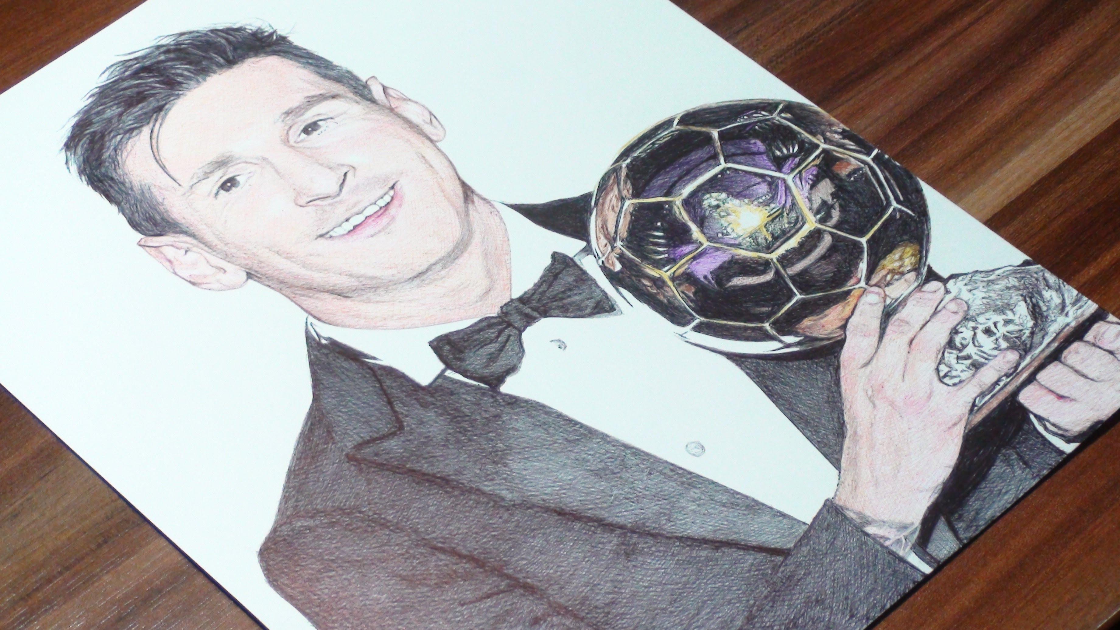 3680x2070 Messi Pen Drawing