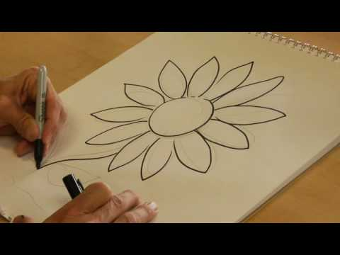 Flower Child Line Drawing : Village nature scenery drawing easy tutorial for kids youtube