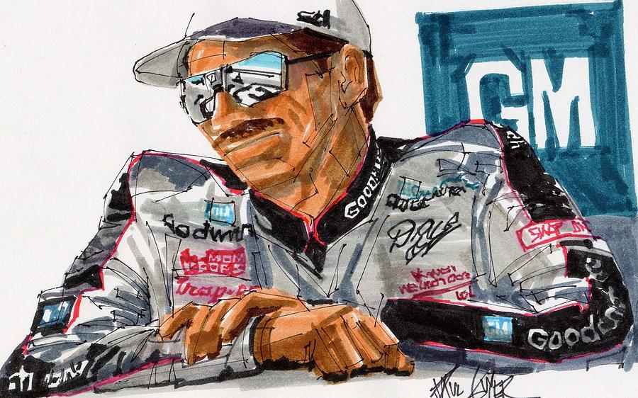 900x562 Dale Earnhardt Drawing By Paul Guyer