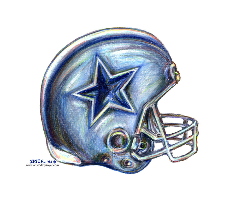 900x835 Dallas Cowboys Helmet Drawing by James Sayer