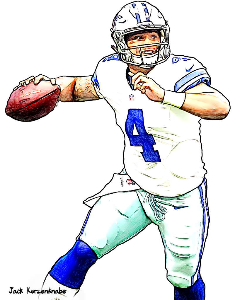 Dallas cowboys logo drawing at free for for Dak prescott coloring pages