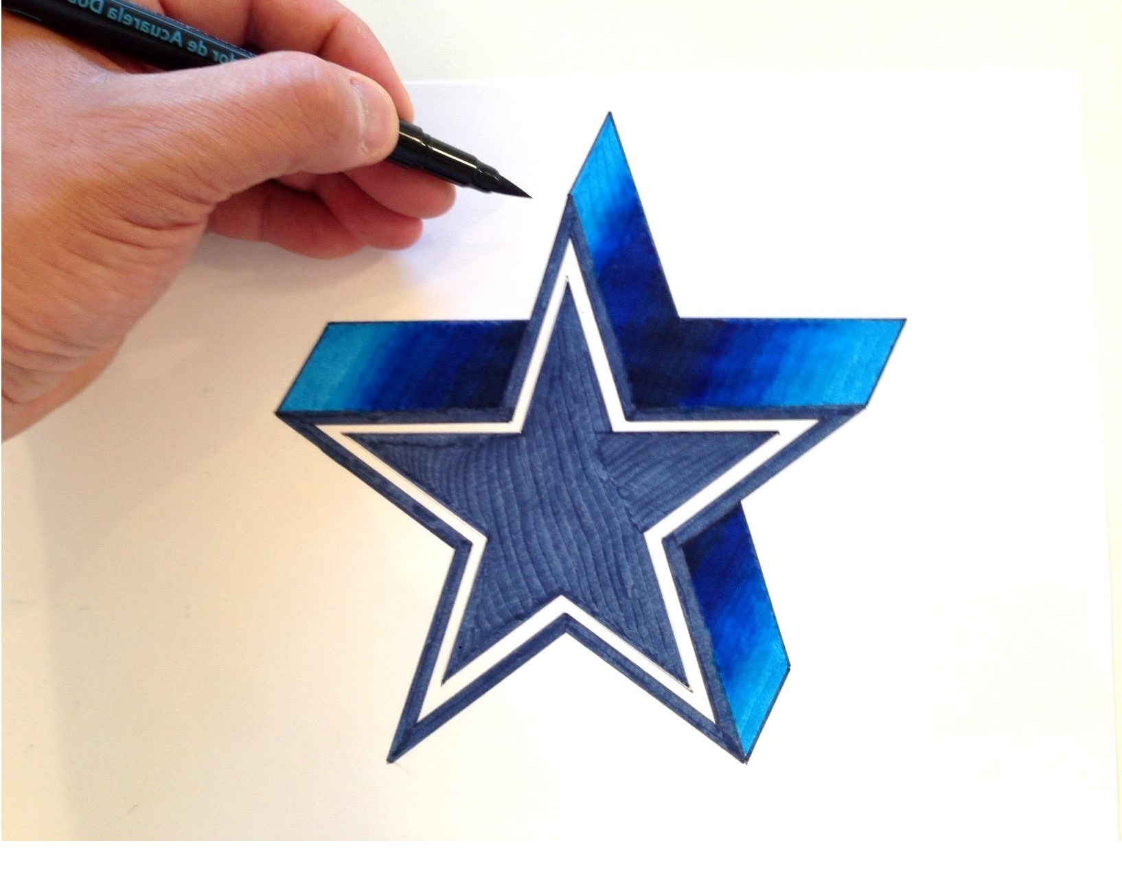 1634x1278 Pencil Drawings 3d Stars How To Draw The Dallas Cowboys Logo In 3d