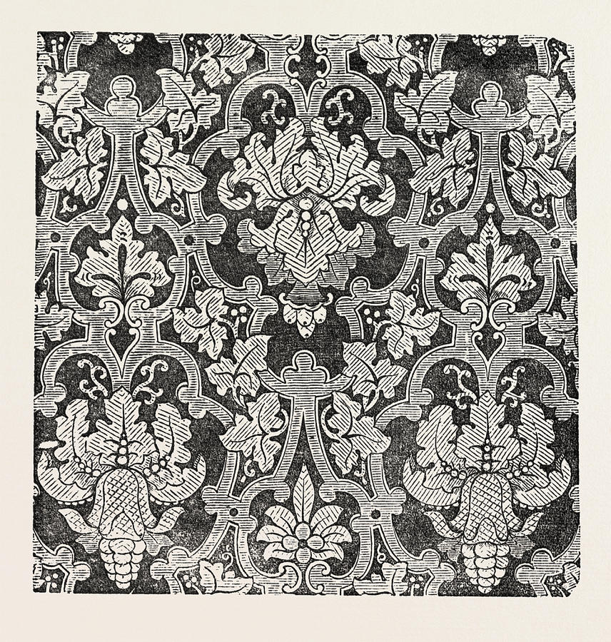 856x900 Damask Pattern Drawing By Shephard And Co., Halifax, English, 19th