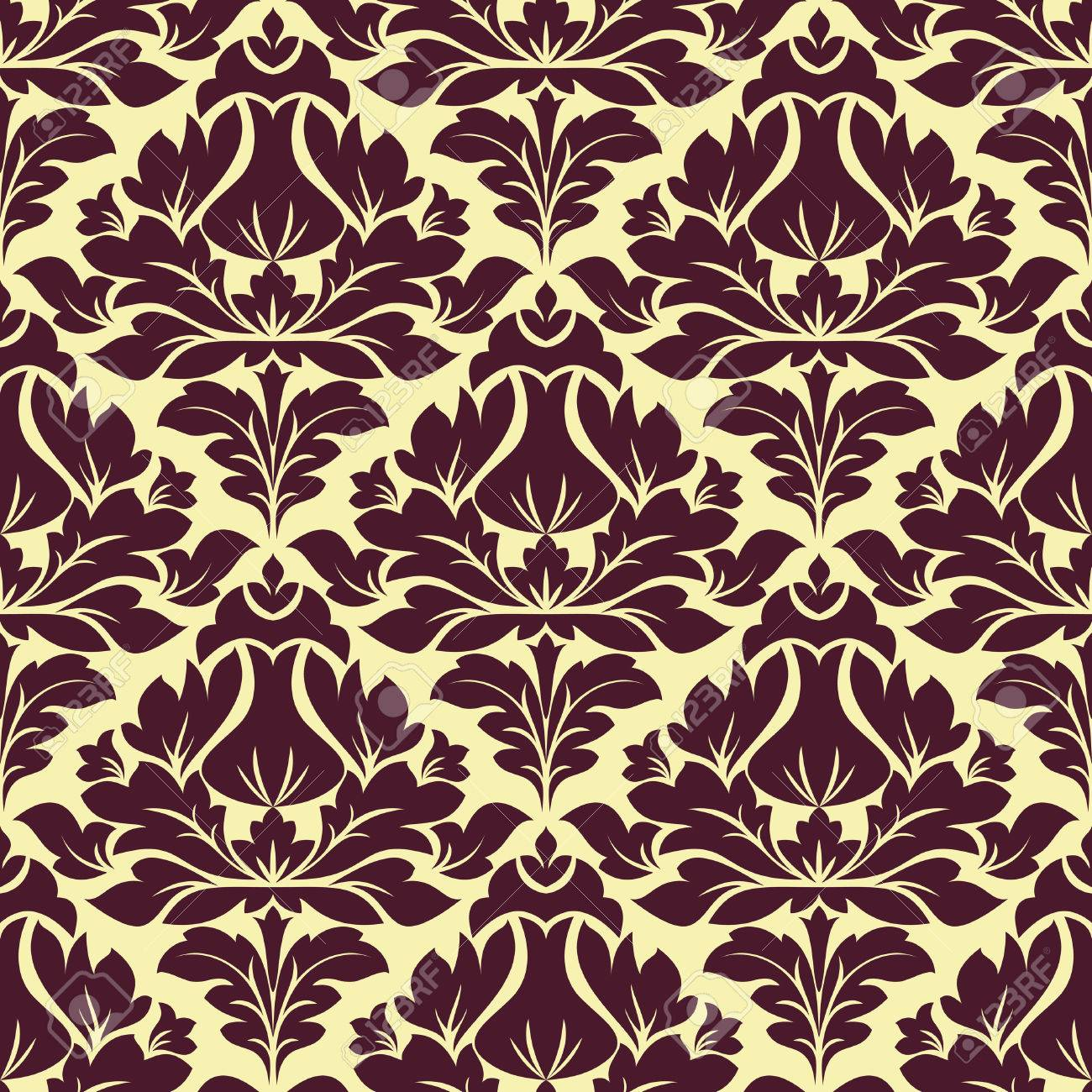 1300x1300 Purple Colored Floral Arabesque Seamless Pattern In Damask Style