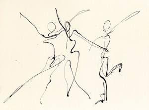 300x221 Three Dancers, Pen Amp Ink Line Drawing Chris Carter Watercolor