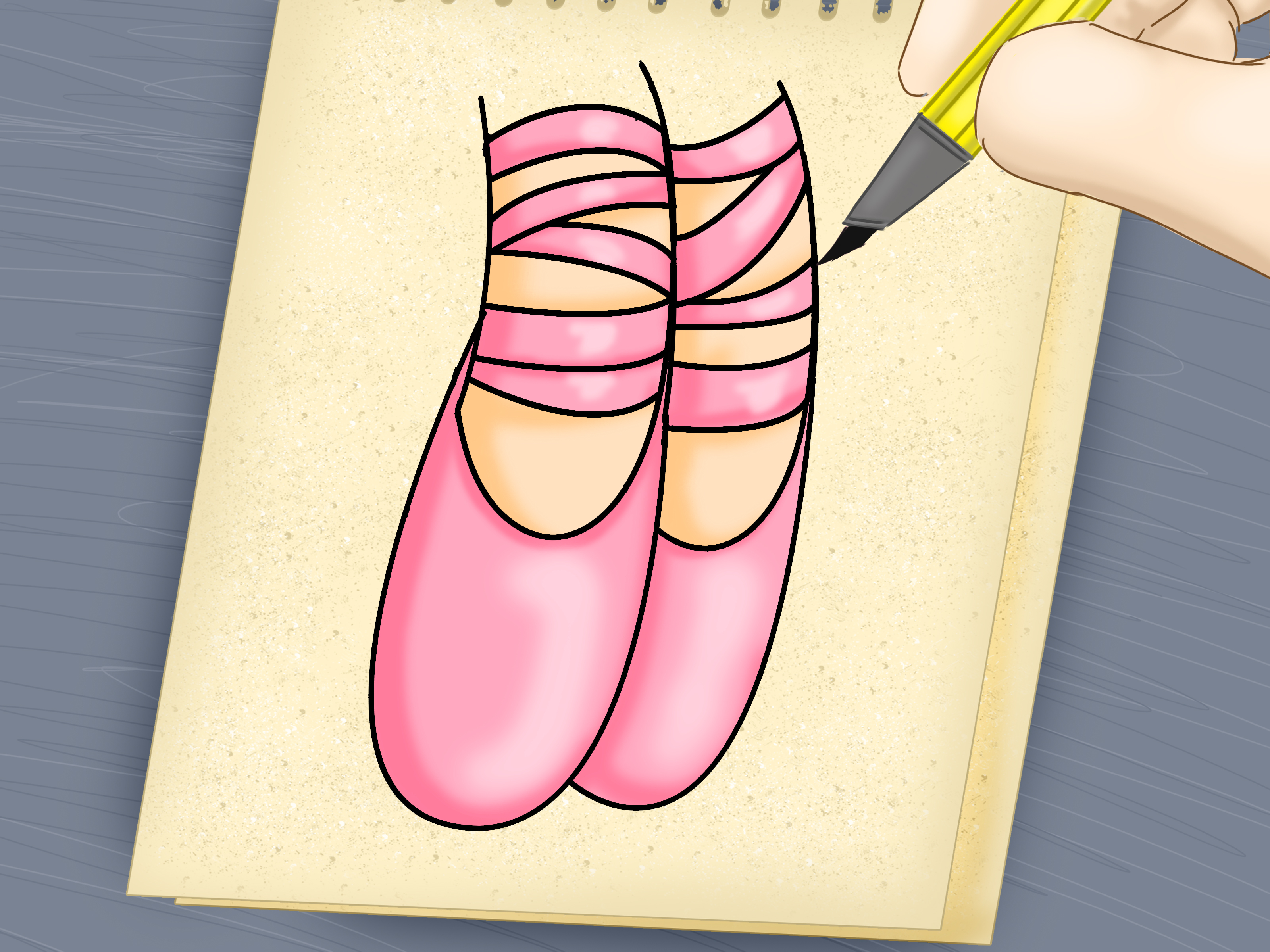 3200x2400 2 Easy Ways To Draw Ballet Slippers (With Pictures)