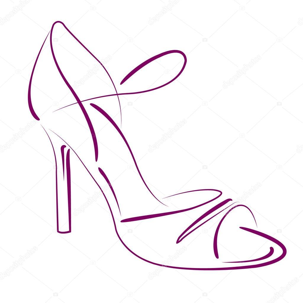 1024x1024 Elegant Sketched Woman S Shoe. Stock Vector Siberica