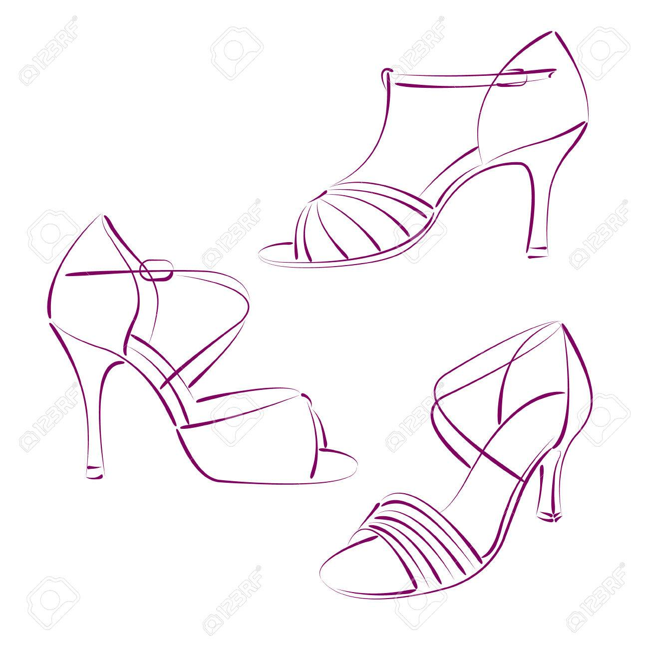 1300x1300 Set Of Elegant Sketched Woman S Shoes Isolated On White Background
