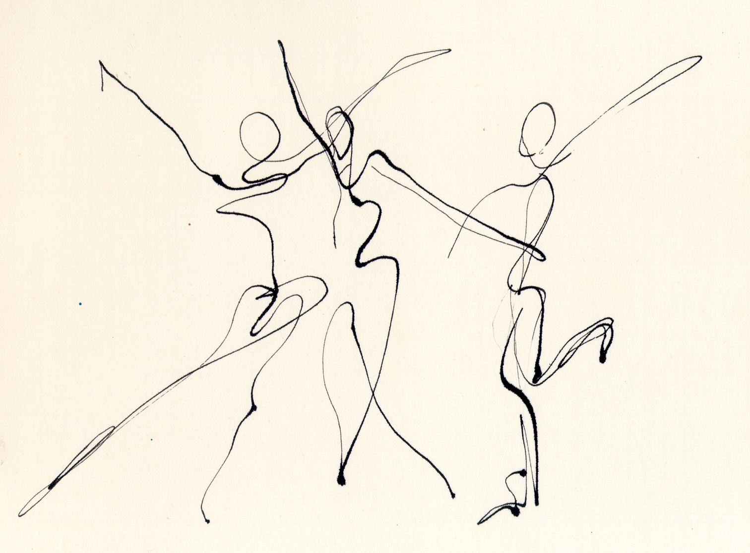 1512x1116 3 Dancers Line Drawing Chris Carter Artist Dip Pen Ink Web Third