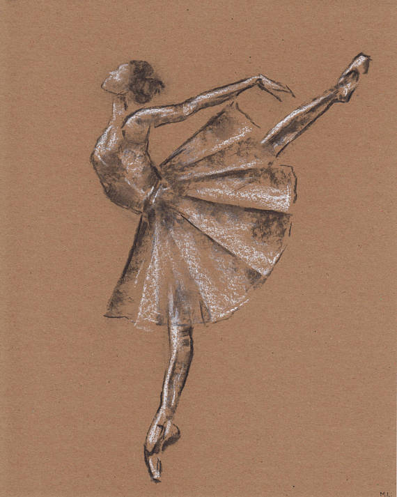 570x713 Ballerina Illustration. Ballerina Drawing. Ballet Dancer