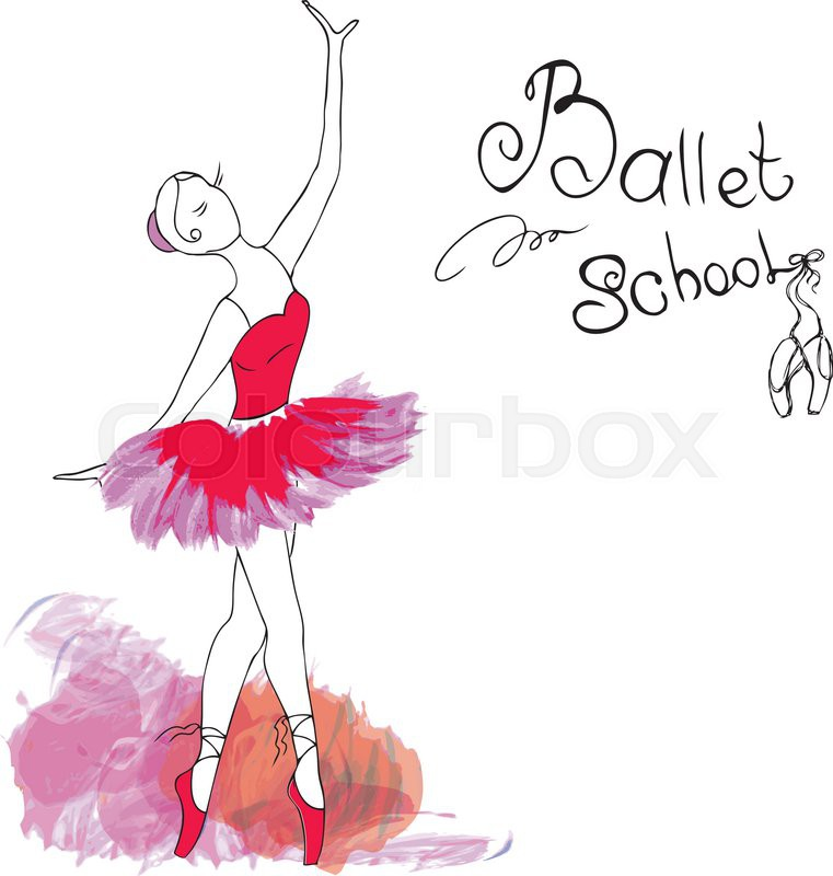 761x800 Ballet Dancer, Drawing In Watercolor Style, Vector Illustration