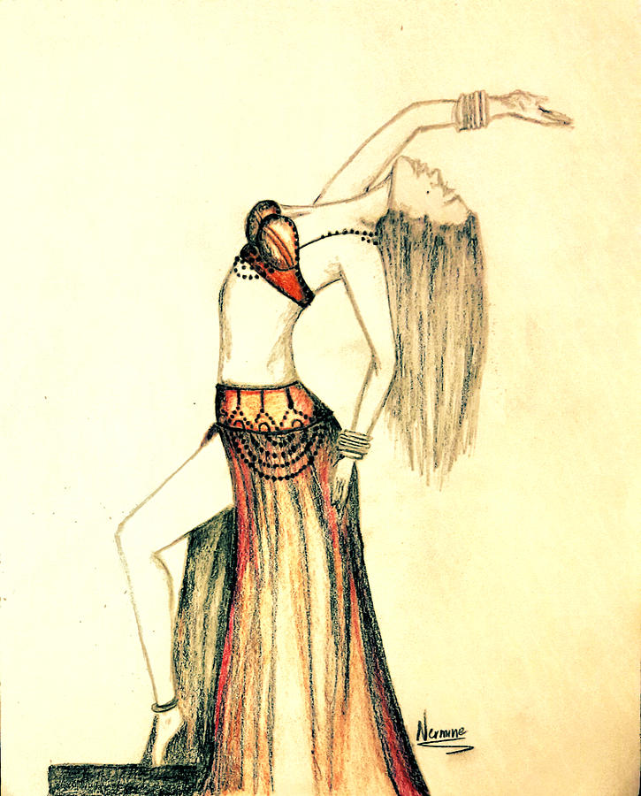 725x900 The Belly Dancer Drawing By Nermine Hanna