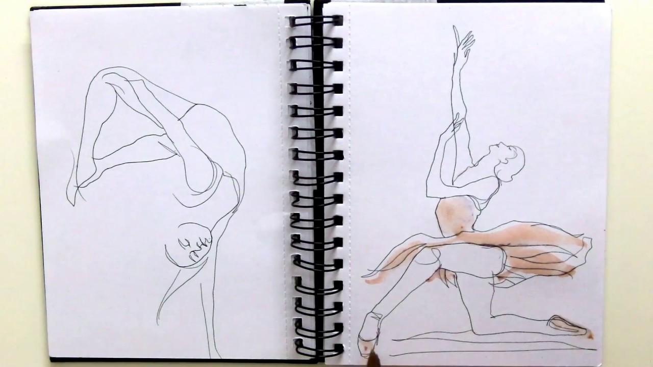 1280x720 Dancers Drawings On Sketchbook (Pen And Watercolor)