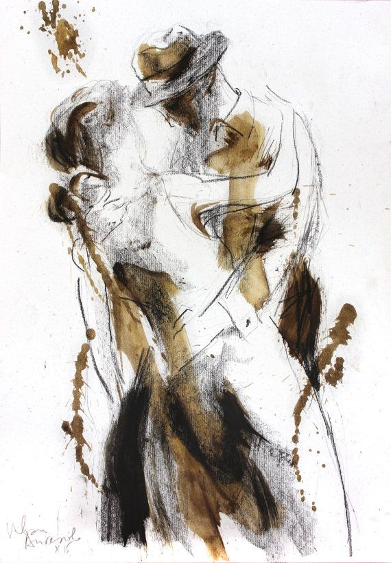 570x819 Dancing Couple Drawing, Giclee Art Print, Charcoal Sketch