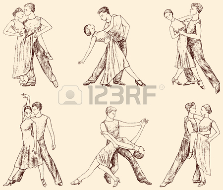 450x383 Sketches Of The Dancing Couples Of The Young People Royalty Free