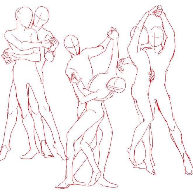 661x662 Couple Poses Drawing Reference