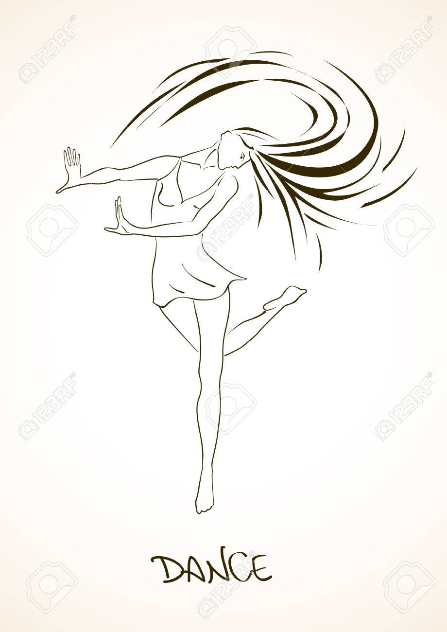 920x1300 Illustration With Isolated Outline Beautiful Dancing Girl Royalty