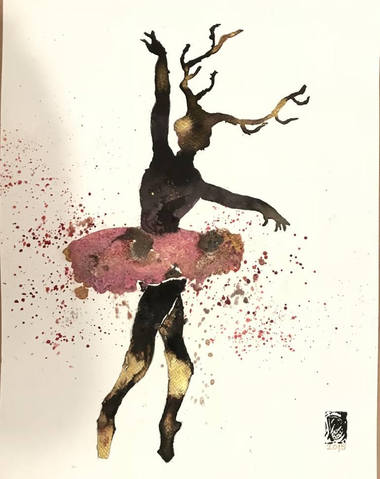 770x970 Saatchi Art Dancing Girl With Horn Drawing By Pelin Dorlevi