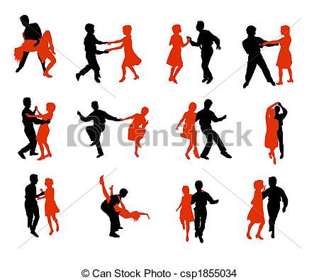 450x395 Colored Dancing People Silhouettes Drawing