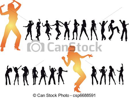 450x343 Disco Dancing And Young People. Vector Illustration Vector Clip