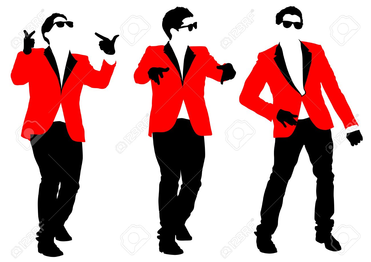1300x919 Vector Drawing Of A Dancing Man In A Jacket Royalty Free Cliparts