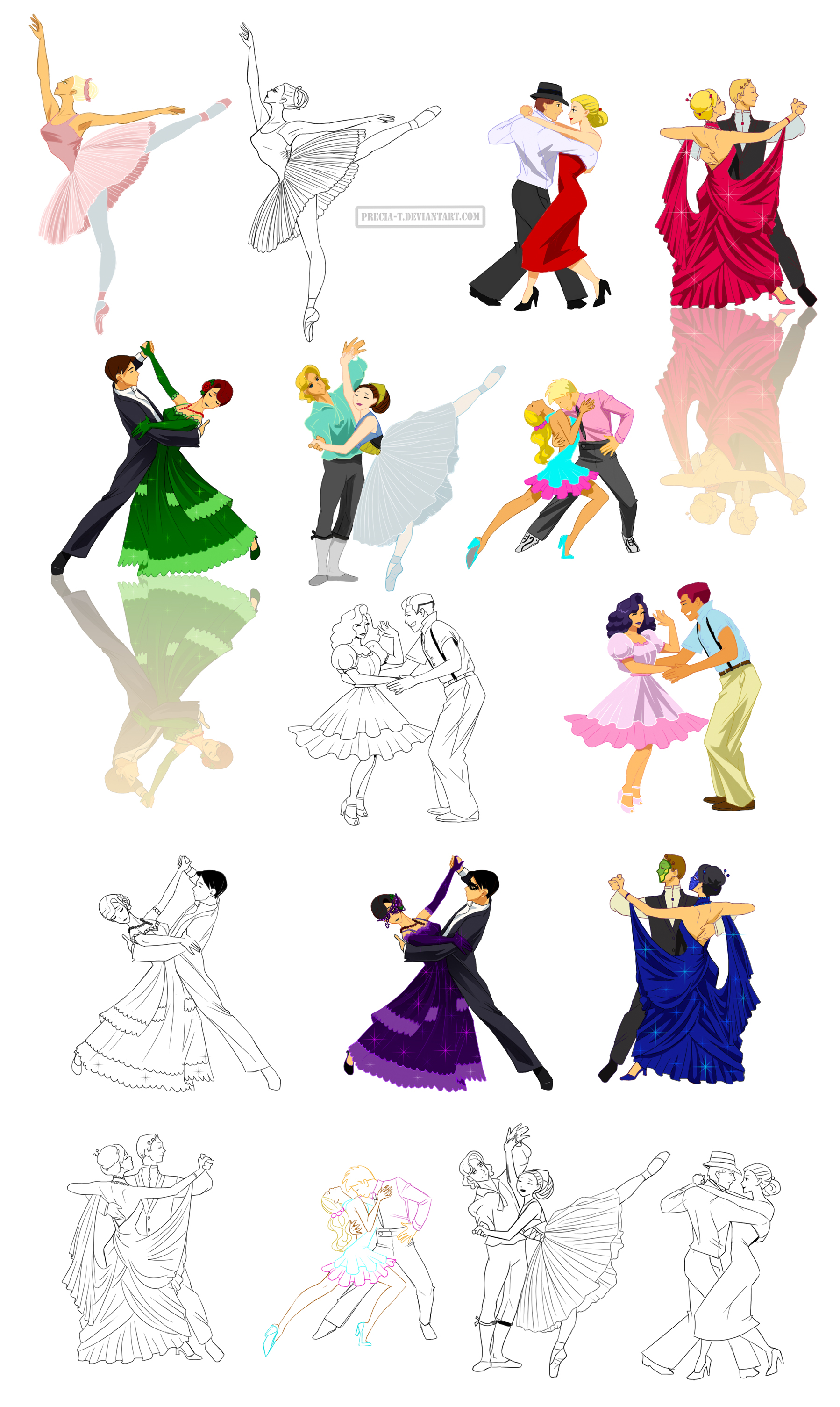 1798x3010 Dancing Poses In Disney Like Style By Precia T