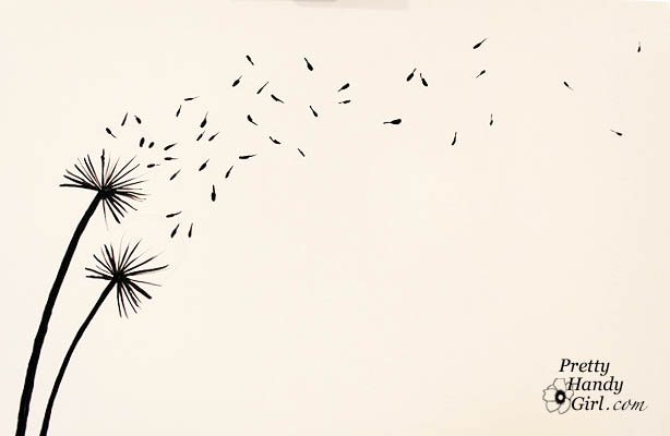 614x400 tutorial for painting dandelion wall graphic