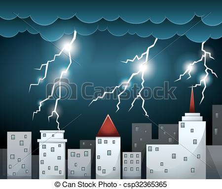 450x385 Thunderstorm And Dark Clouds Over City Illustration Clip Art