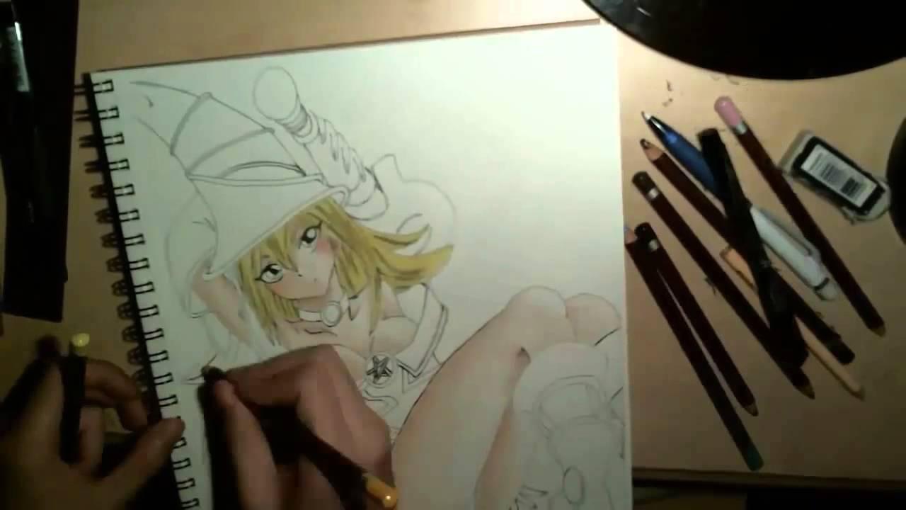 1280x720 Dark Magician Girl Drawing With Yu Gi Oh! Op 4 Full