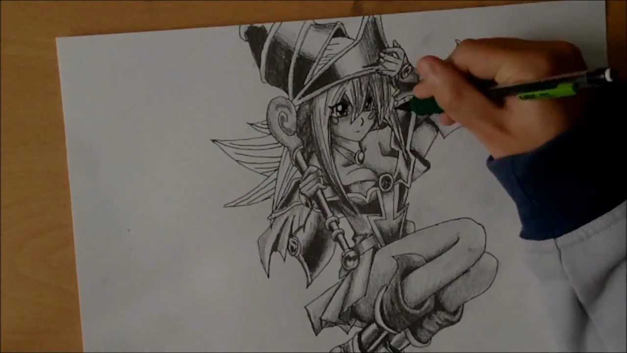 1280x720 Drawing Dark Magician Girl From Yu Gi Oh! (By Draftsmanmomo93